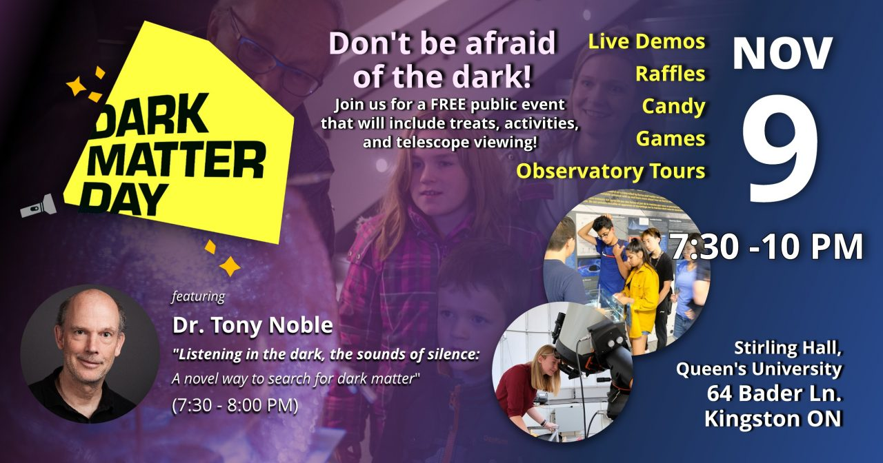 Poster stating time from 7:30 - 10:00 PM, location at Stirling Hall, 64 Bader Lane, that there will be prizes, candy, demos, observatory tours, fund and games, and a brief science talk from Dr. Tony Noble on Listing To The Dark, The Sounds Of Silence. A Novel way to look for Dark Matter which will start at 7:30.