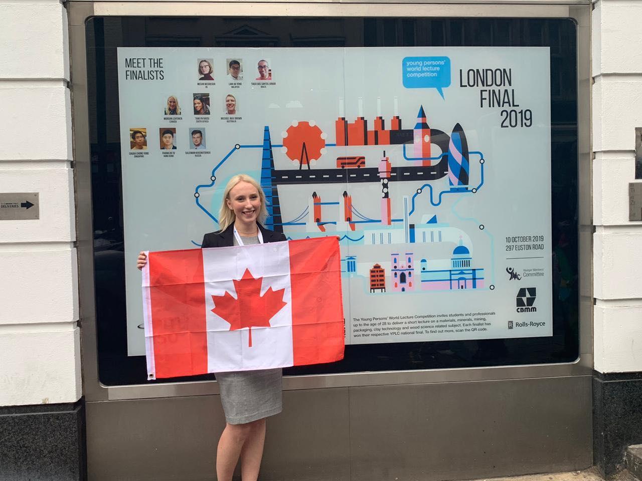 2019 YPWLC Canadian Finalist, Morgan Lehtinen, in London, UK.