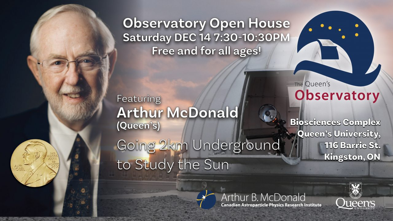 Poster for event on Dec 14th feature Nobel Laureate Art McDonald