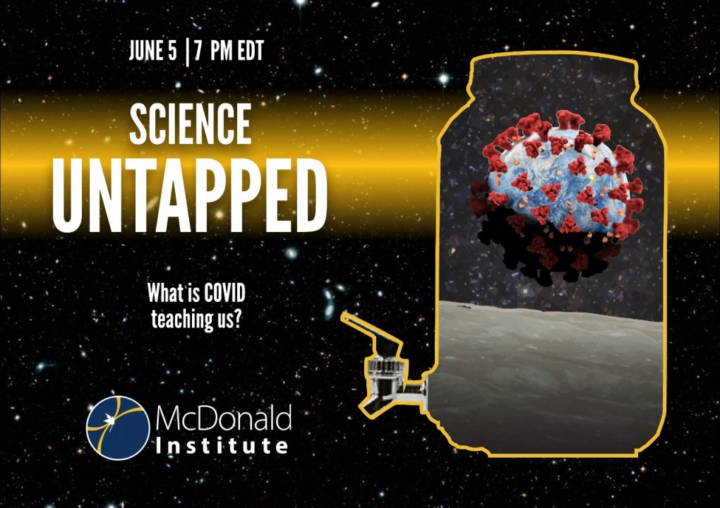 Science Untapped Poster. Main image is a carafe with a Earth covered in covid.