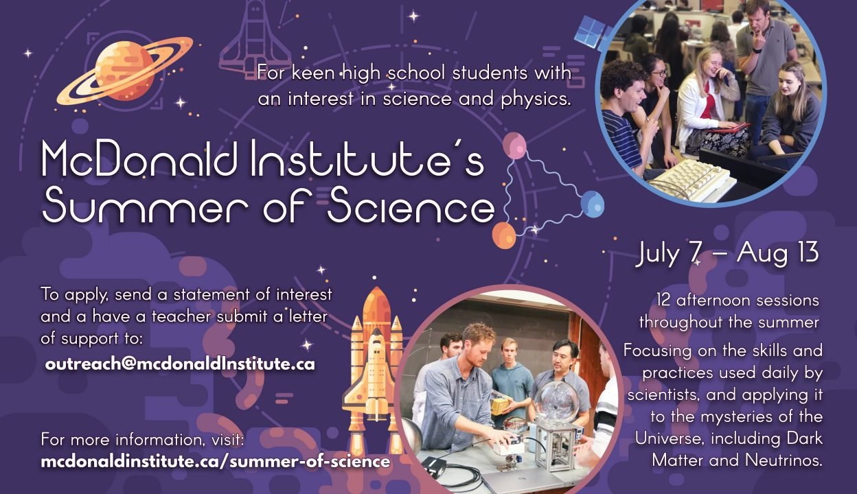 Poster advertising the McDonald Institute's Summer of Science