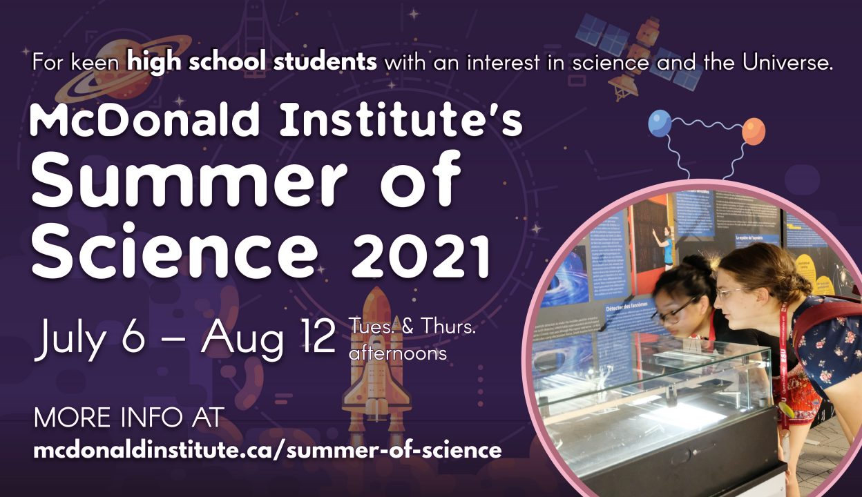 Summer of Science Poster image with dates July 6-Aug 12, and picture of two girls looking at a particle detector.
