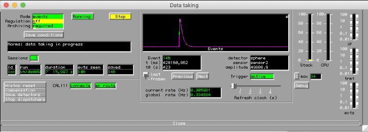 """A screenshot of software actively collecting data from the NEWS-G detector. The main window in the centre shows a graph with the horizontal axis labelled """"Events"""" and a purple line above with a distinct peak. The peak is very similar to the one shown in the above video for the Amplifier Signal during an event. Other settings and windows are shown with the status of the detector and the length of the current data taking session."""
